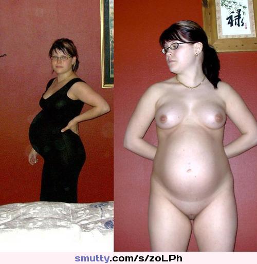 Pregnant dressed undressed